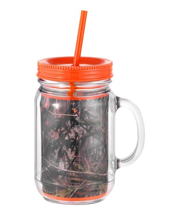 Occasionally Made Orange & Mossy Oak Mason Jar Cup