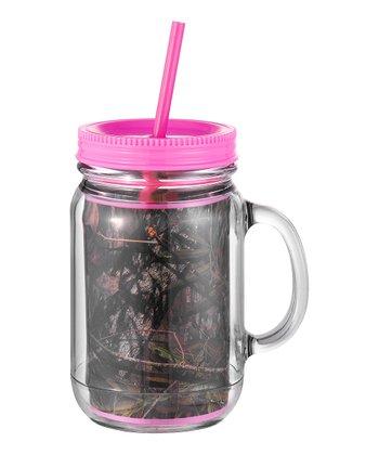 Occasionally Made Pink & Mossy Oak Mason Jar Cup