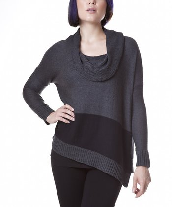 Black & Charcoal Cowl Neck Sweater