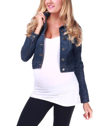 Dark Denim Blue Maternity Jacket - Women