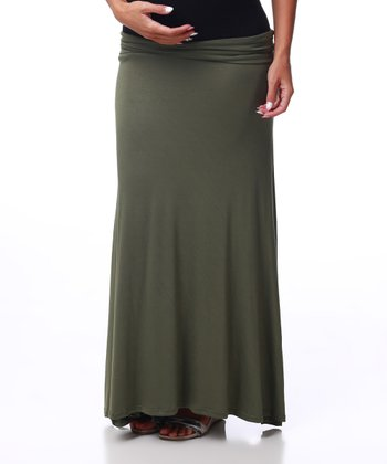 Olive Under-Belly Maternity Maxi Skirt - Women