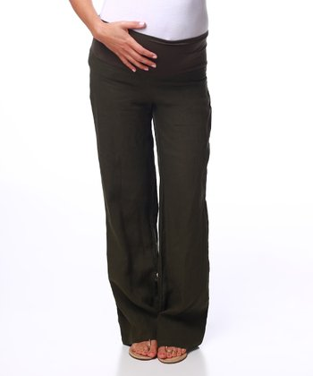Olive Green Linen Mid-Belly Maternity Pants