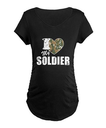 Black Camo Heart 'I Love My Soldier' Maternity Tee - Women