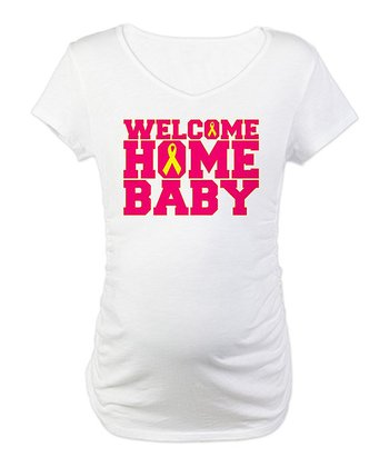 White 'Welcome Home Baby' Maternity Tee - Women