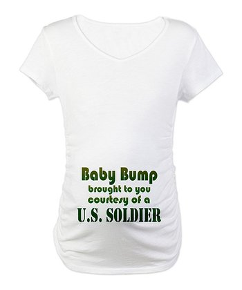 White Courtesy of a Soldier Maternity Tee - Women