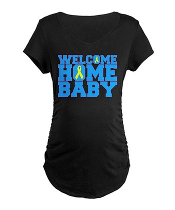 Black 'Welcome Home Baby' Maternity Tee - Women
