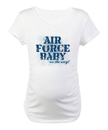 White 'Air Force Baby On the Way' Maternity Tee - Women