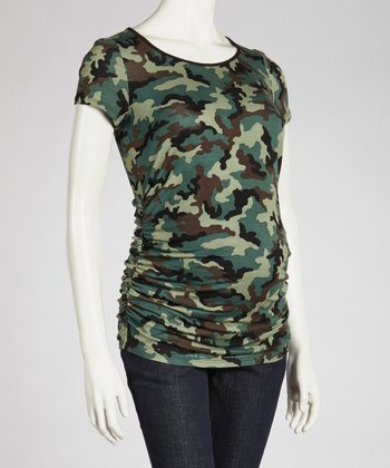 Camo Maternity Scoop Neck Short-Sleeve Top - Women