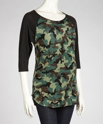 Camo Maternity Raglan Top - Women