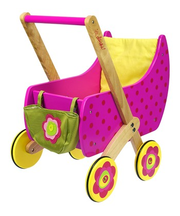 Pink Wood Doll Carriage