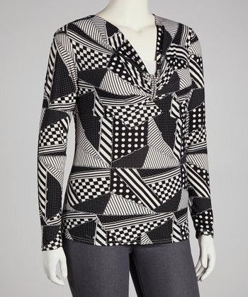 Black Geometric Top - Plus