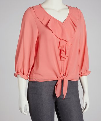 Coral Ruffle Tie-Waist Top - Plus