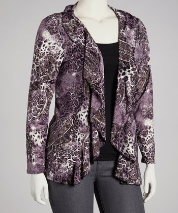 Purple Paisley Ruffle Open Cardigan - Plus