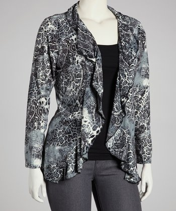 Gray Paisley Ruffle Open Cardigan - Plus