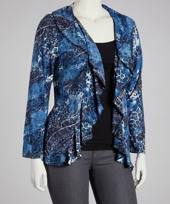 Blue Paisley Ruffle Open Cardigan - Plus