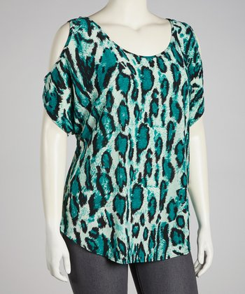 Aqua Leopard Cutout Top - Plus