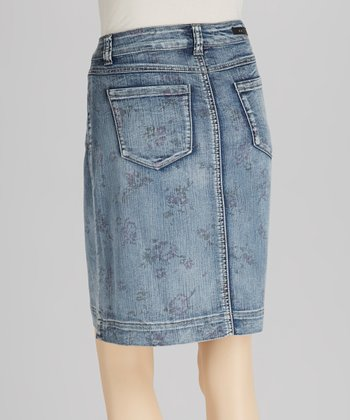 Blue Floral Denim Skirt