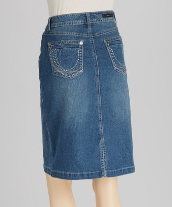 Medium Light Blue Straight Denim Skirt