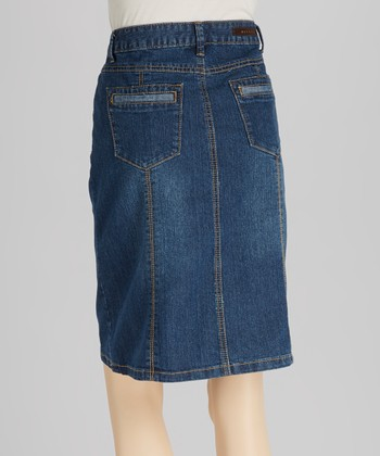 Medium Blue Seam Denim Skirt