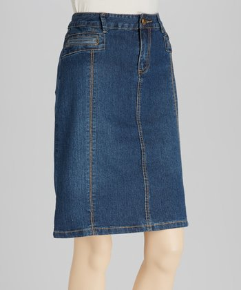Medium Blue Seamed Denim Skirt