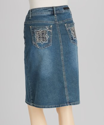 Medium Blue Embroidered Denim Skirt