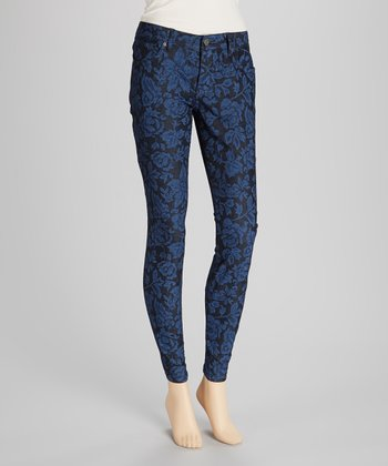 Blue & Black Floral Jeggings
