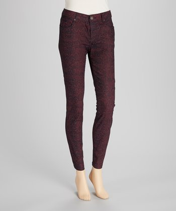 Deep Red & Black Snake Jeggings