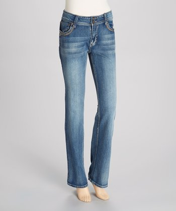 Medium Blue Rhinestone Bootcut Jeans