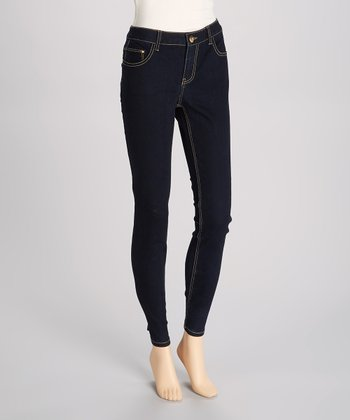 Dark Blue Blasted Skinny Jeans