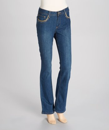 Medium Blue Satin Straight-Leg Jeans