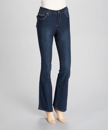 Medium Dark Blue Flap-Pocket Bootcut Jeans