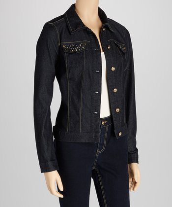 Dark Blue Stud Denim Jacket