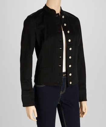 Black Mandarin Collar Jacket