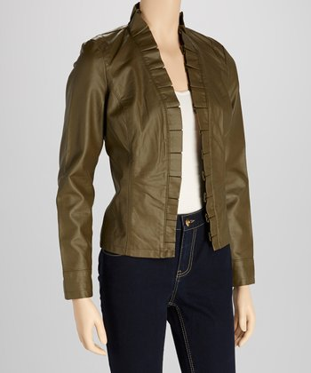 Olive Box Pleat Faux Leather Jacket