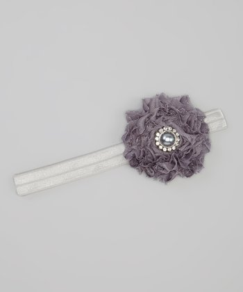 Gray Glitter Pearl Flower Headband