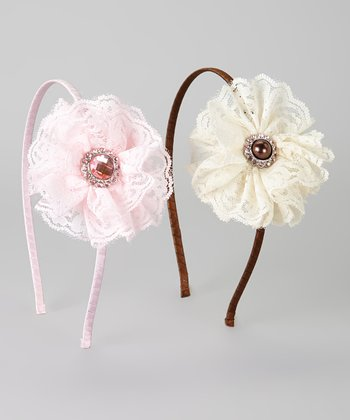 Ivory & Pink Lace Rhinestone Flower Headband Set
