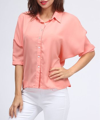 Coral Dolman Button-Up