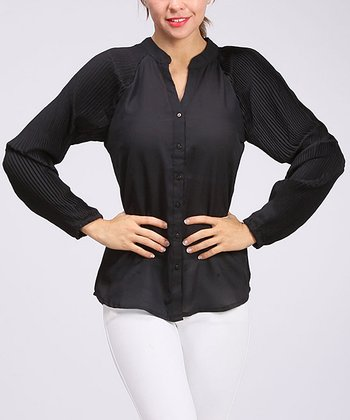 Black Accordion Pleat Sleeve Button-Up
