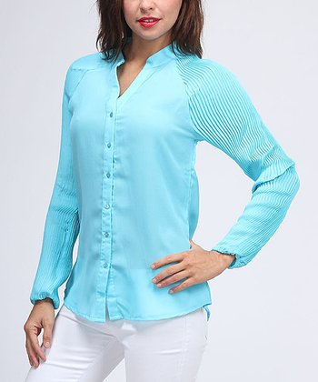 Turquoise Accordion Pleat Sleeve Button-Up