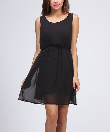 Black Gathered Waist Sleeveless Dress