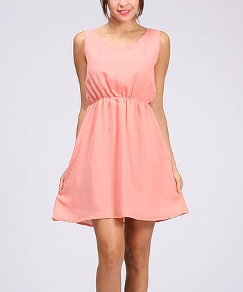 Coral Gathered Waist Sleeveless Dress
