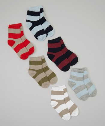 Navy & Red Stripe Socks Set