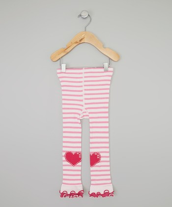 Pink Stripe Heart Ruffle Footless Tights - Infant, Toddler & Girls