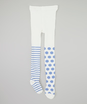 Ivory & Blue Polka Dot Stripe Tights - Infant & Girls