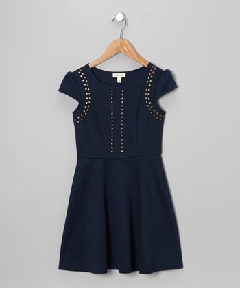 Navy & Gold Stud Dress