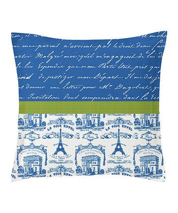 Blue & Green Toiles Script Euro Pillow Sham