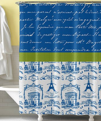 Blue & Green Toiles Script Shower Curtain