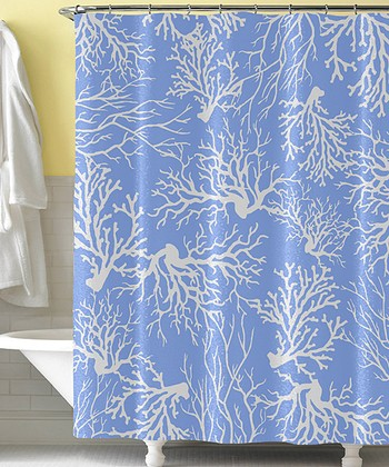 Blue White Coral Shower Curtain Zulily