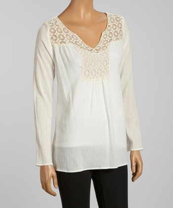 Ivory Lace Yoke Top