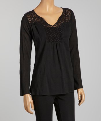 Black Lace Yoke Top